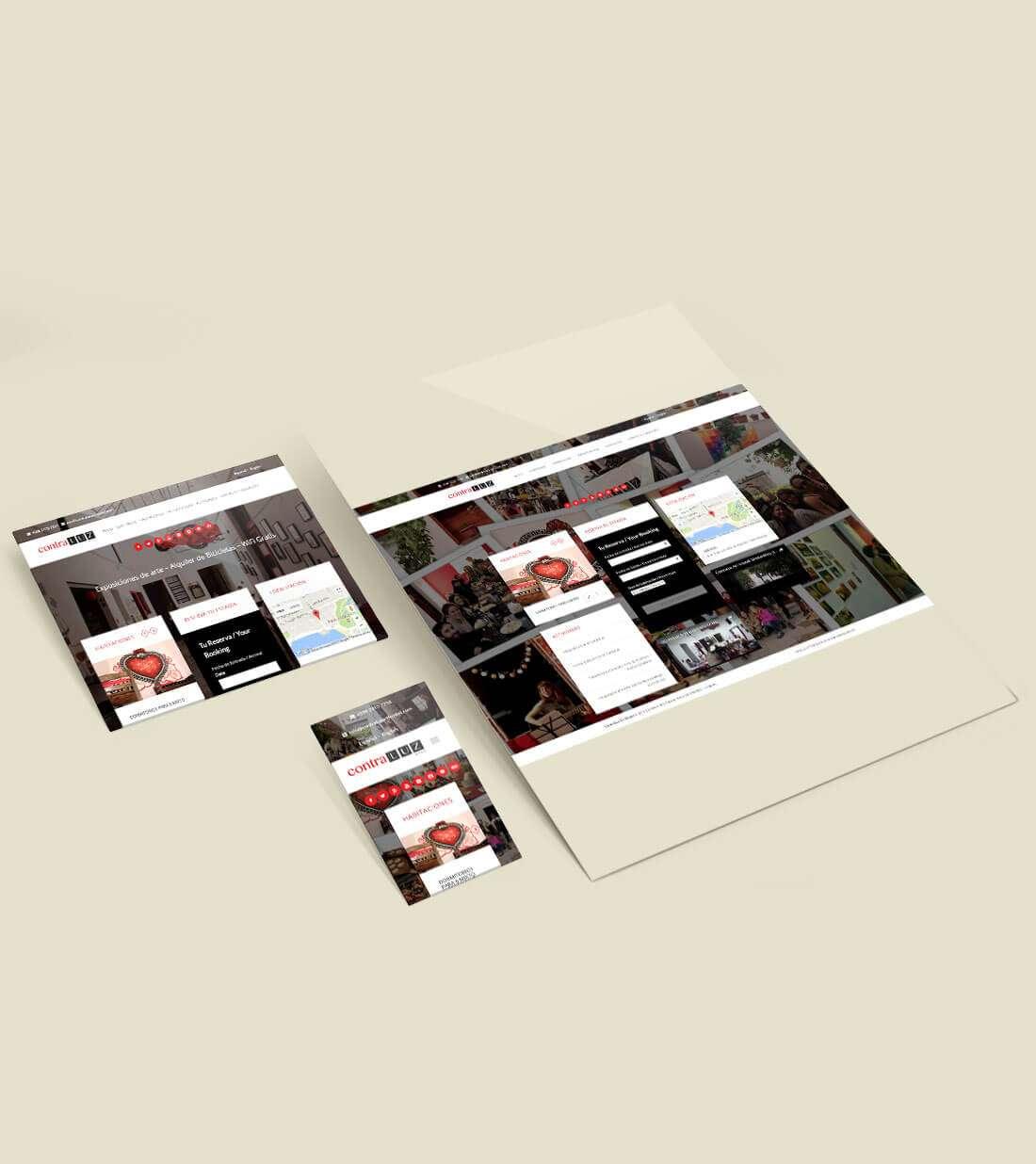 Contraluz Art Hostel. Website, responsive views